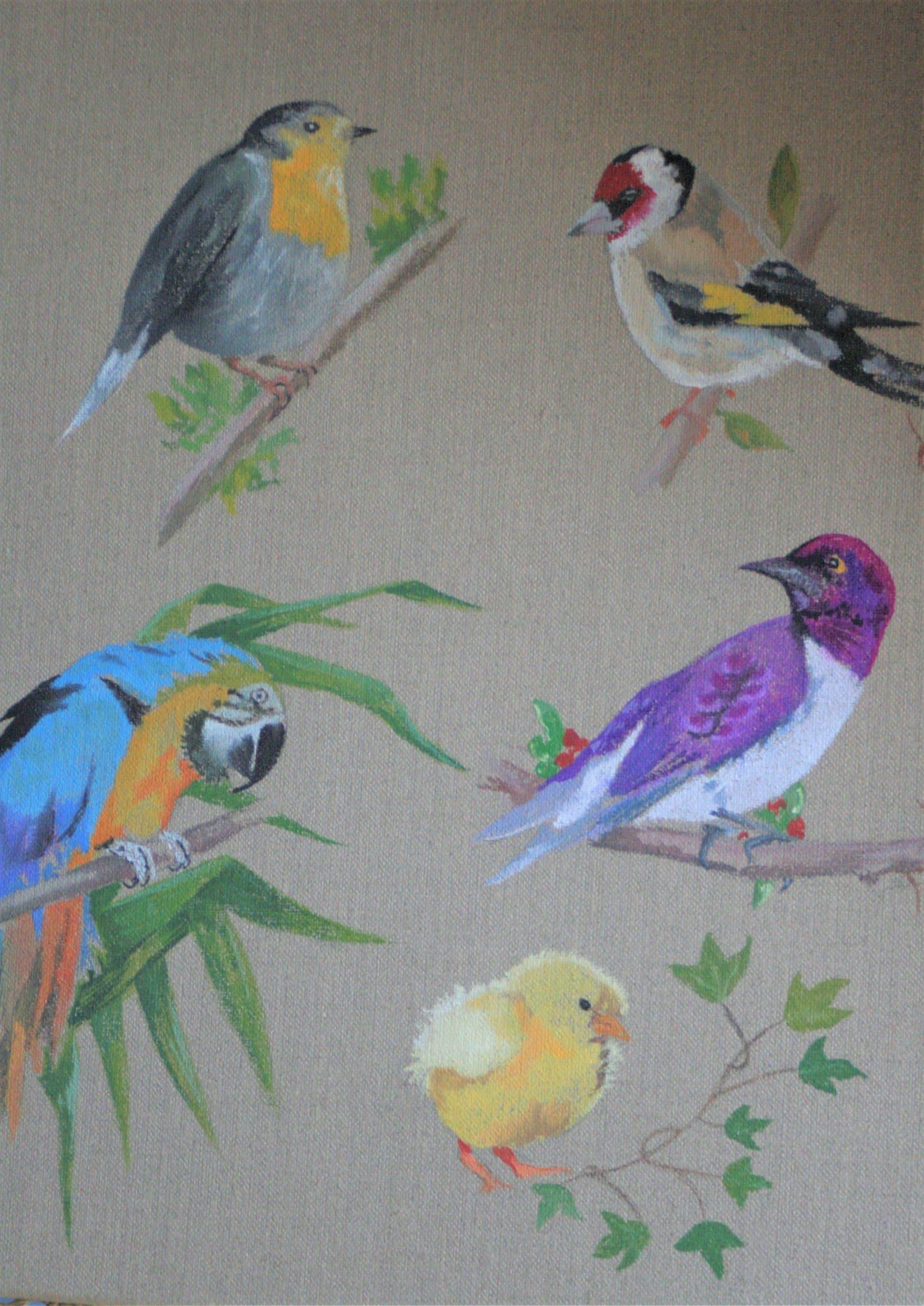 Oiseaux en acrylique sur toile