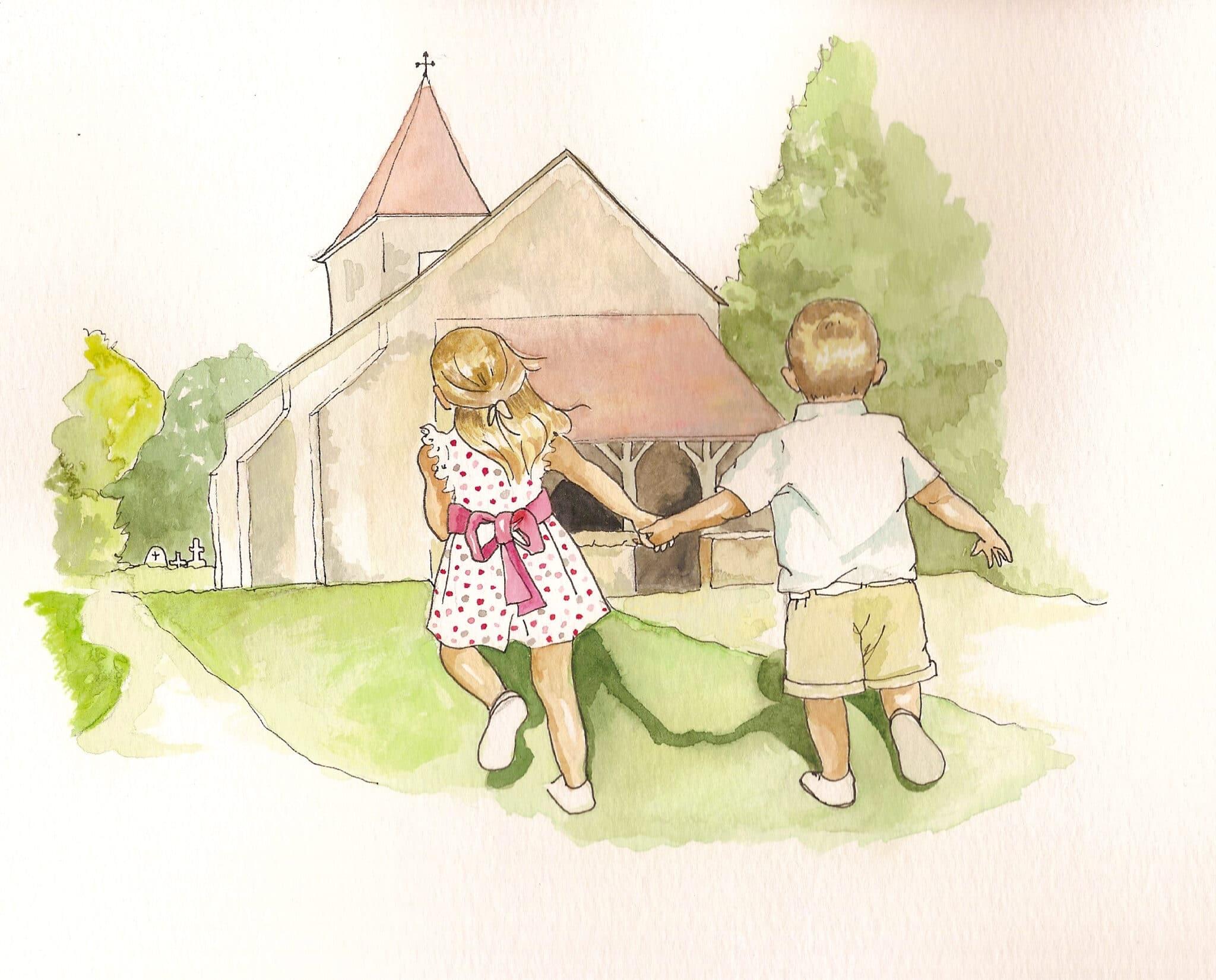 Illustration enfants et église